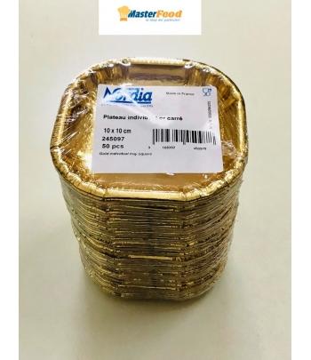 Monoporzione quadrata oro cartoncino cm.10x10 (pz.50)