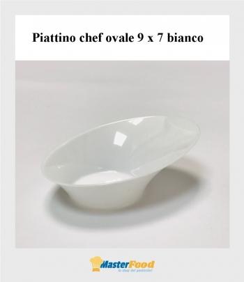 Piattino chef ovale 9 x 7 bianco pz.20
