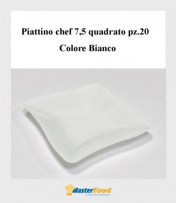 Piattino chef quadrato 7,5 Bianco pz.20