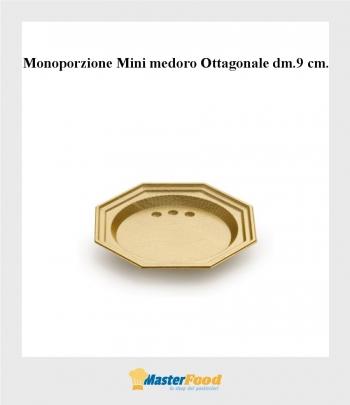 Monoporzione Ottagonale dm 9 cm. oro mini medoro (pz.100) alcas
