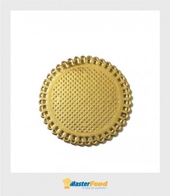 Monoporzione Pizzi in cartoncino tondo dm.10 cm. oro (confezione pz.50) Novaservice