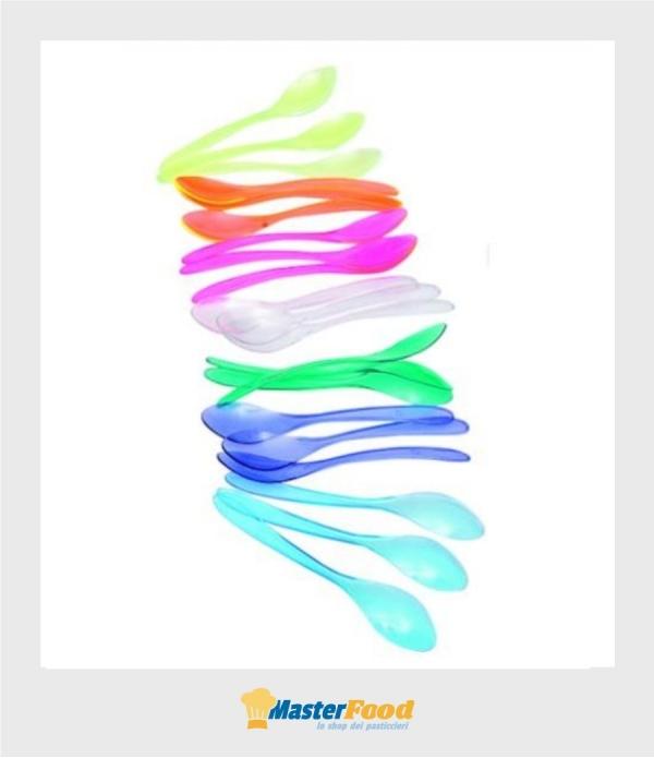 Cucchiaini yogurt/granita pz.300 cm.13,8 trasparenti colorati