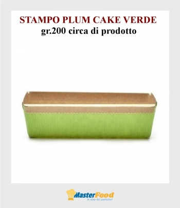 Stampo da cottura PLUM CAKE VERDE gr.200 in carta micronda