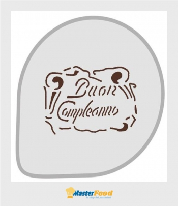 Stencil per torte Buon compleanno (mask 68) martellato