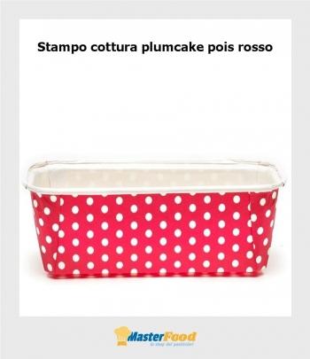Stampo da cottura PLUMCAKE ROSSO POIS gr.500 in cartoncino