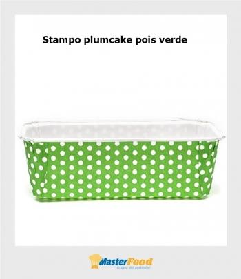 Stampo da cottura PLUMCAKE VERDE POIS gr.500 in cartoncino