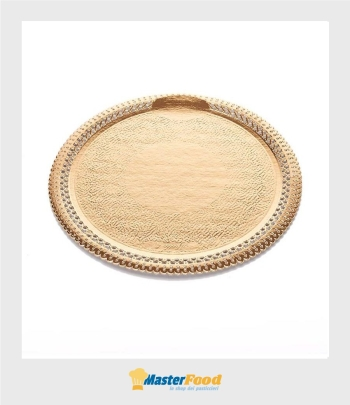 Piatto pizzi apollo cm.25 diametro in cartoncino dorato n.4
